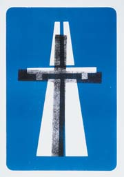 a poster shows a motorway with a cross imprinted on top of it