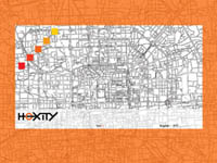 a website with a city map as background and an orange frame
