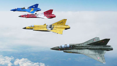 Four jet fighters are flying in formation, a yellow, red, green and blue each.