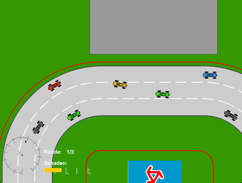 Many tiny coloured racing cars on a oval track.