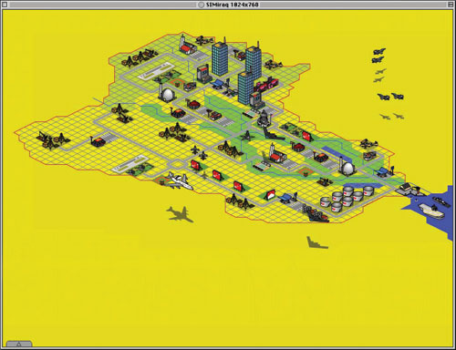 A map thriving with buildings, warships and aircraft