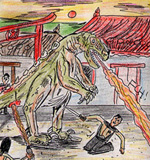 a man is trying to attack a fire-breathing dragon